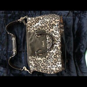 Coach silver leopard purse - used